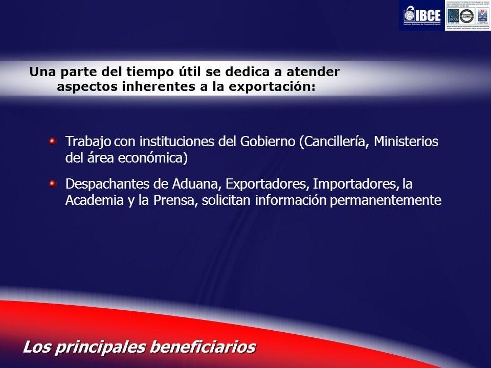 5 Los principales beneficiarios Una parte del tiempo útil se dedica a atender aspectos inherentes a la exportación: Trabajo con instituciones del Gobi