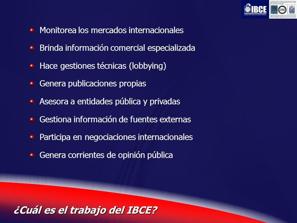 6 ¿Cuál es el trabajo del IBCE? Monitorea los mercados internacionales Brinda información comercial especializada Hace gestiones técnicas (lobbying) G