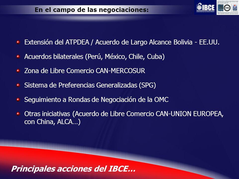 8 Principales acciones del IBCE… En el campo de las negociaciones: Extensión del ATPDEA / Acuerdo de Largo Alcance Bolivia - EE.UU. Acuerdos bilateral