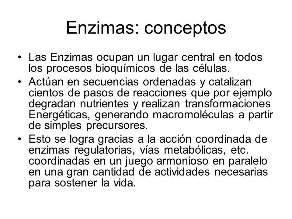 Parametros de Michaelis-Menten para algunas enzimas ordenadas por aumento en el Kcat/Km