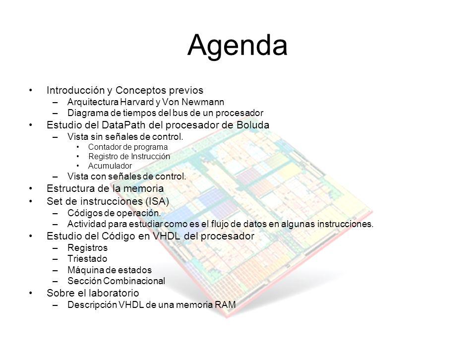 Agenda Introducción y Conceptos previos –Arquitectura Harvard y Von Newmann –Diagrama de tiempos del bus de un procesador Estudio del DataPath del pro