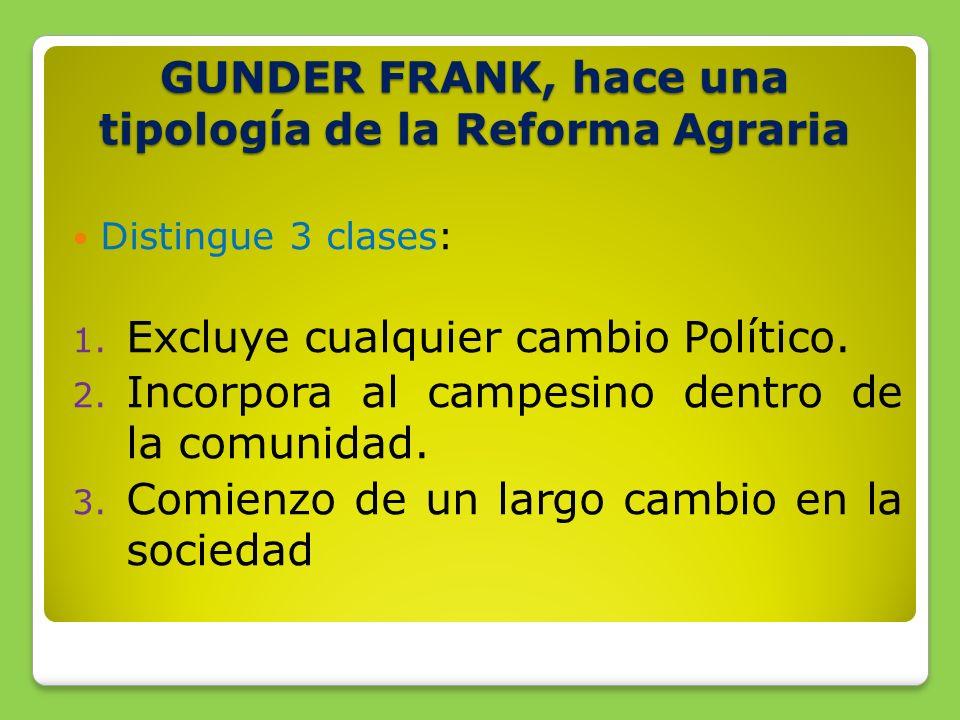 GUNDER FRANK, hace una tipología de la Reforma Agraria Distingue 3 clases: 1.