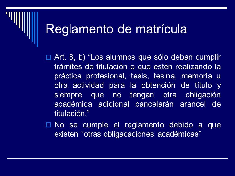 Reglamento de matrícula Art.