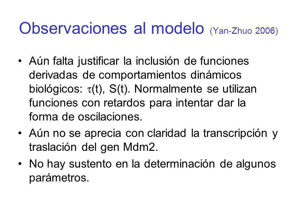 Observaciones al modelo (Yan-Zhuo 2006) Aún falta justificar la inclusión de funciones derivadas de comportamientos dinámicos biológicos: (t), S(t). N