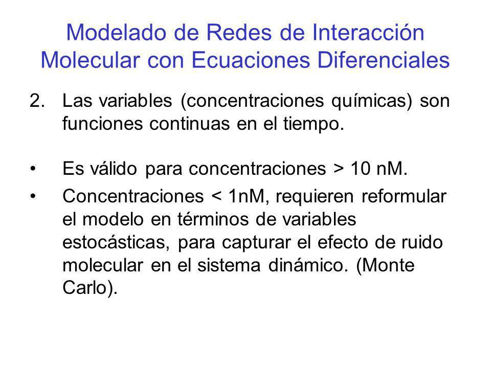 Modelado de Redes de Interacción Molecular con Ecuaciones Diferenciales 2.Las variables (concentraciones químicas) son funciones continuas en el tiemp