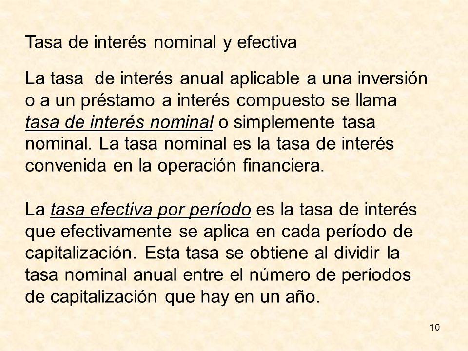 10 Tasa de interés nominal y efectiva tasa de interés nominal La tasa de interés anual aplicable a una inversión o a un préstamo a interés compuesto s