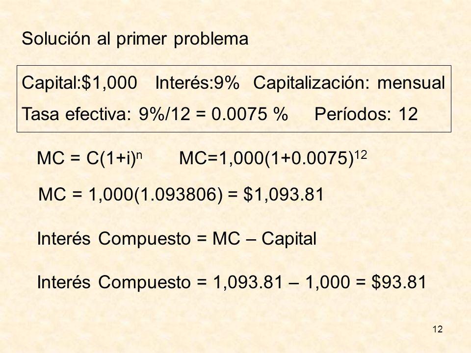 12 Solución al primer problema Capital:$1,000 Interés:9% Capitalización: mensual Tasa efectiva: 9%/12 = 0.0075 % Períodos: 12 MC = C(1+i) n MC=1,000(1