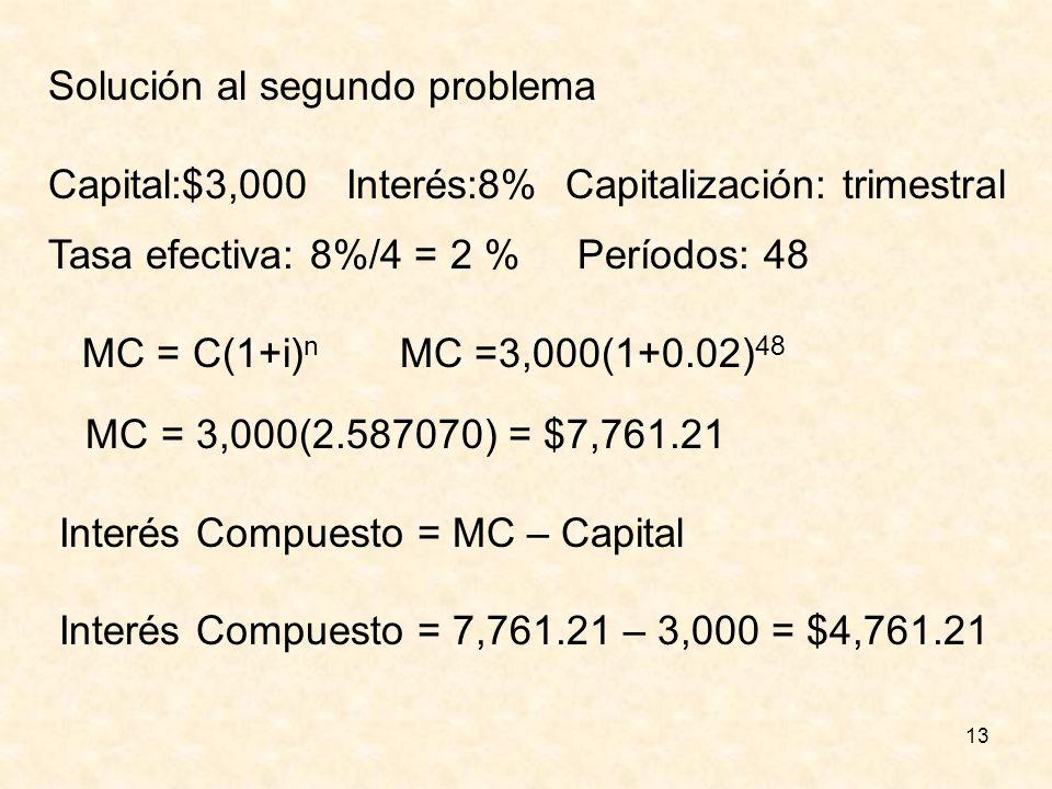 13 Solución al segundo problema Capital:$3,000 Interés:8% Capitalización: trimestral Tasa efectiva: 8%/4 = 2 % Períodos: 48 MC = C(1+i) n MC =3,000(1+