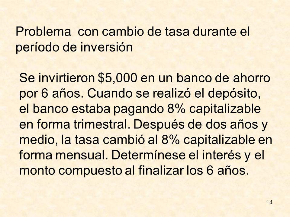 14 Problema con cambio de tasa durante el período de inversión Se invirtieron $5,000 en un banco de ahorro por 6 años. Cuando se realizó el depósito,