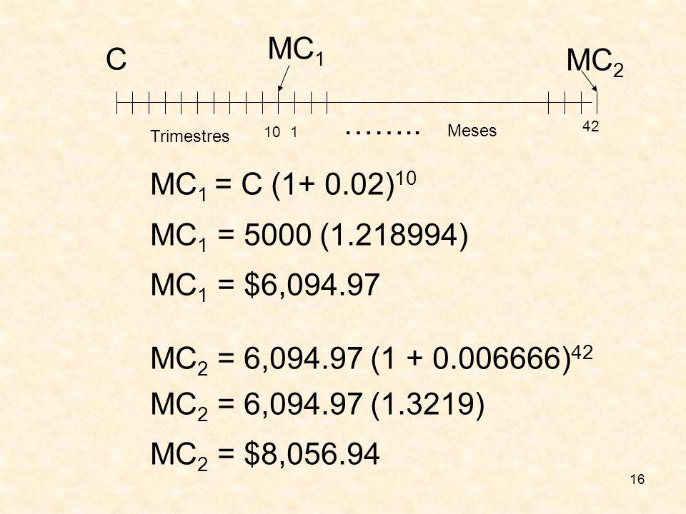 16 C 10 MC 1 42 MC 2 1 …….. Trimestres Meses MC 1 = C (1+ 0.02) 10 MC 1 = 5000 (1.218994) MC 1 = $6,094.97 MC 2 = 6,094.97 (1 + 0.006666) 42 MC 2 = 6,