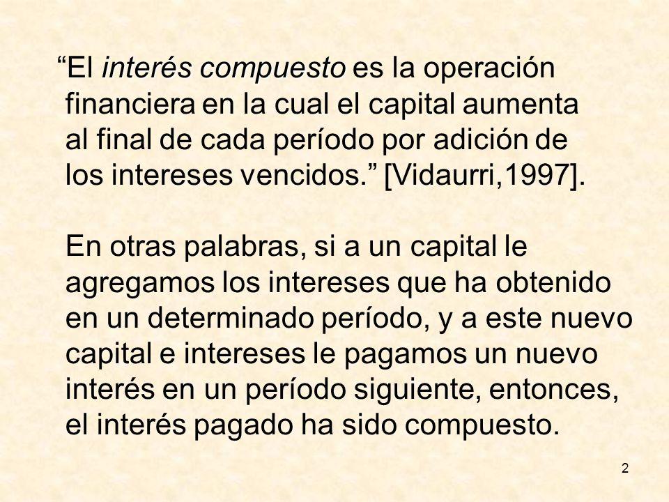 13 Solución al segundo problema Capital:$3,000 Interés:8% Capitalización: trimestral Tasa efectiva: 8%/4 = 2 % Períodos: 48 MC = C(1+i) n MC =3,000(1+0.02) 48 MC = 3,000(2.587070) = $7,761.21 Interés Compuesto = MC – Capital Interés Compuesto = 7,761.21 – 3,000 = $4,761.21