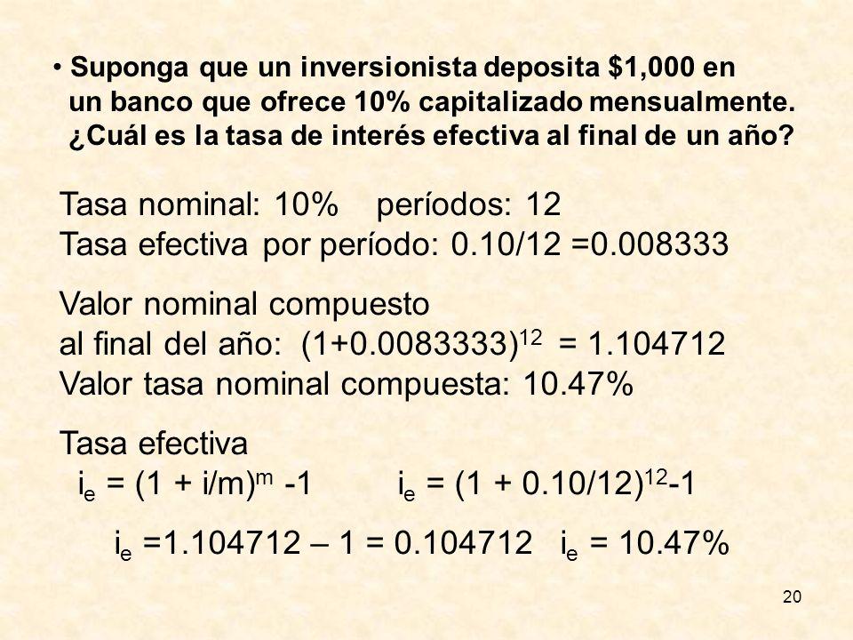 20 Suponga que un inversionista deposita $1,000 en un banco que ofrece 10% capitalizado mensualmente. ¿Cuál es la tasa de interés efectiva al final de