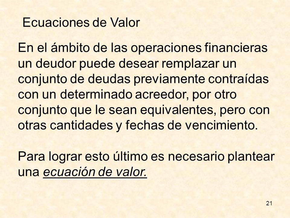21 Ecuaciones de Valor En el ámbito de las operaciones financieras un deudor puede desear remplazar un conjunto de deudas previamente contraídas con u