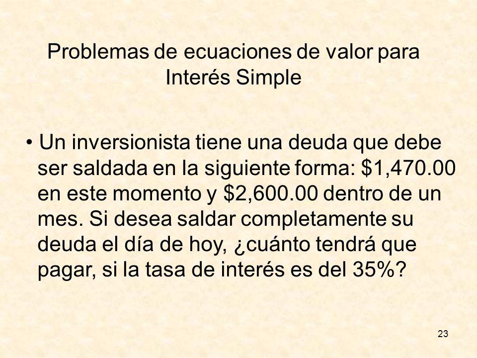 23 Problemas de ecuaciones de valor para Interés Simple Un inversionista tiene una deuda que debe ser saldada en la siguiente forma: $1,470.00 en este