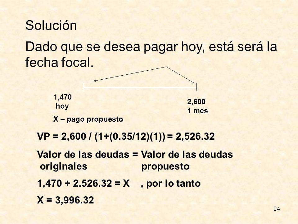 24 Solución Dado que se desea pagar hoy, está será la fecha focal. 1,470 hoy X – pago propuesto 2,600 1 mes VP = 2,600 / (1+(0.35/12)(1)) = 2,526.32 V