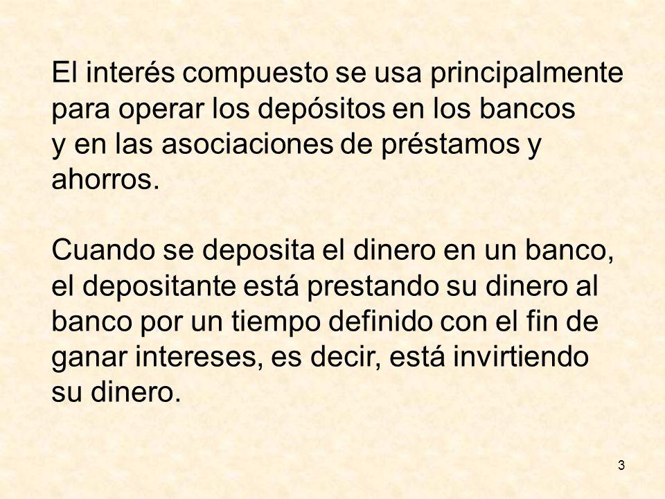 3 El interés compuesto se usa principalmente para operar los depósitos en los bancos y en las asociaciones de préstamos y ahorros. Cuando se deposita