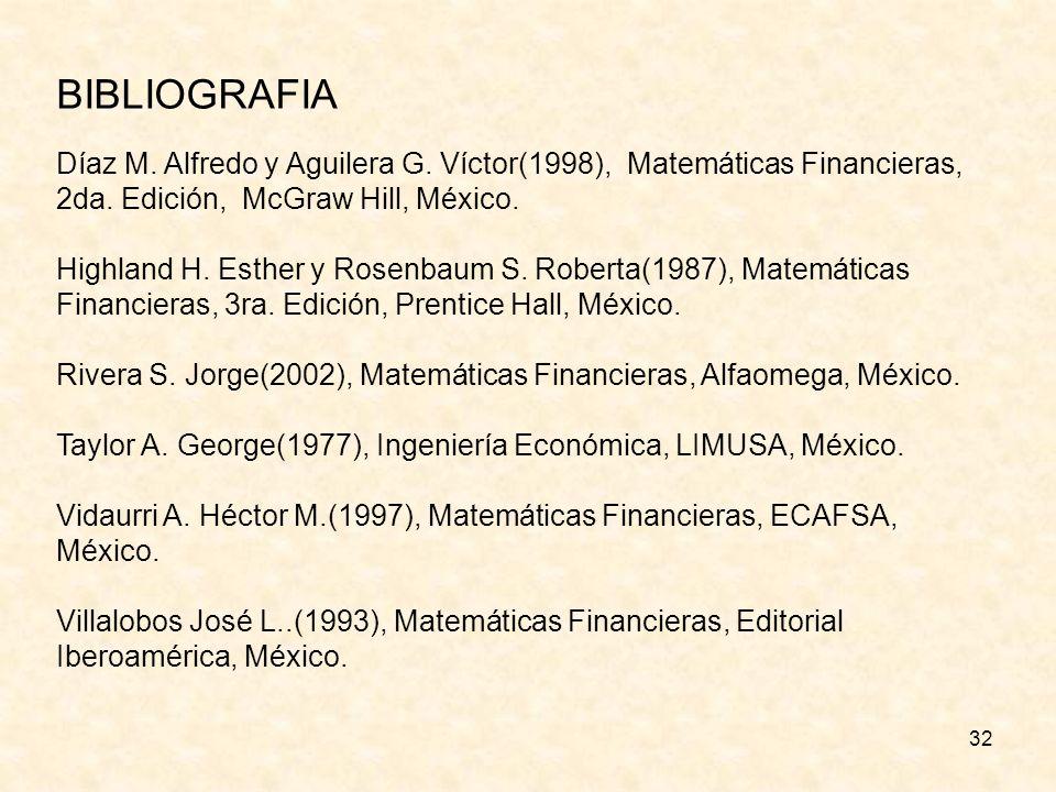 32 BIBLIOGRAFIA Díaz M. Alfredo y Aguilera G. Víctor(1998), Matemáticas Financieras, 2da. Edición, McGraw Hill, México. Highland H. Esther y Rosenbaum
