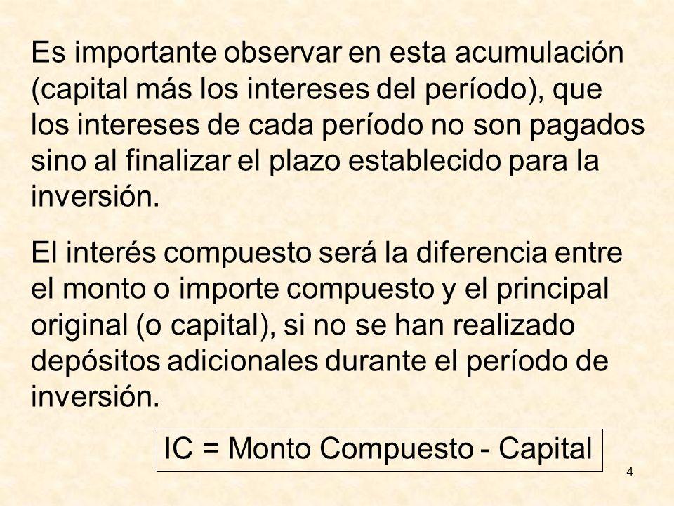 4 Es importante observar en esta acumulación (capital más los intereses del período), que los intereses de cada período no son pagados sino al finaliz