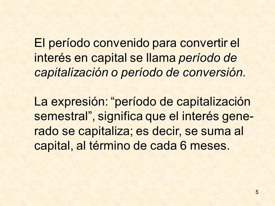 5 El período convenido para convertir el período de interés en capital se llama período de capitalización o período de conversión capitalización o per