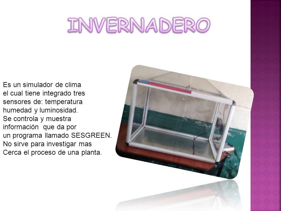 Es un simulador de clima el cual tiene integrado tres sensores de: temperatura humedad y luminosidad.