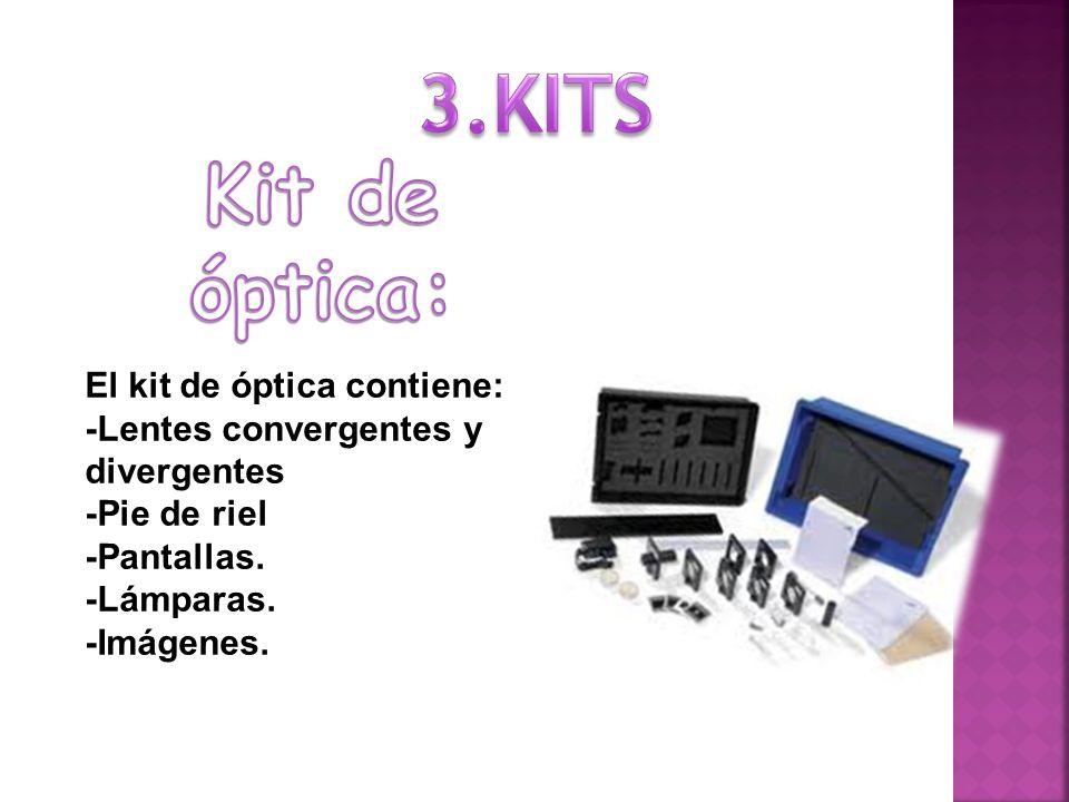 El kit de óptica contiene: -Lentes convergentes y divergentes -Pie de riel -Pantallas.
