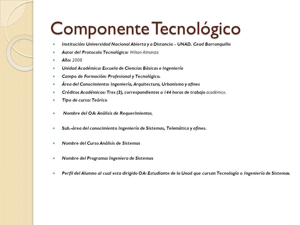 Componente Tecnológico Institución: Universidad Nacional Abierta y a Distancia – UNAD. Cead Barranquilla Autor del Protocolo Tecnológico: Wilson Alman
