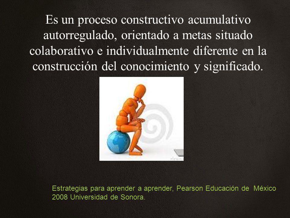 Es un proceso constructivo acumulativo autorregulado, orientado a metas situado colaborativo e individualmente diferente en la construcción del conocimiento y significado.