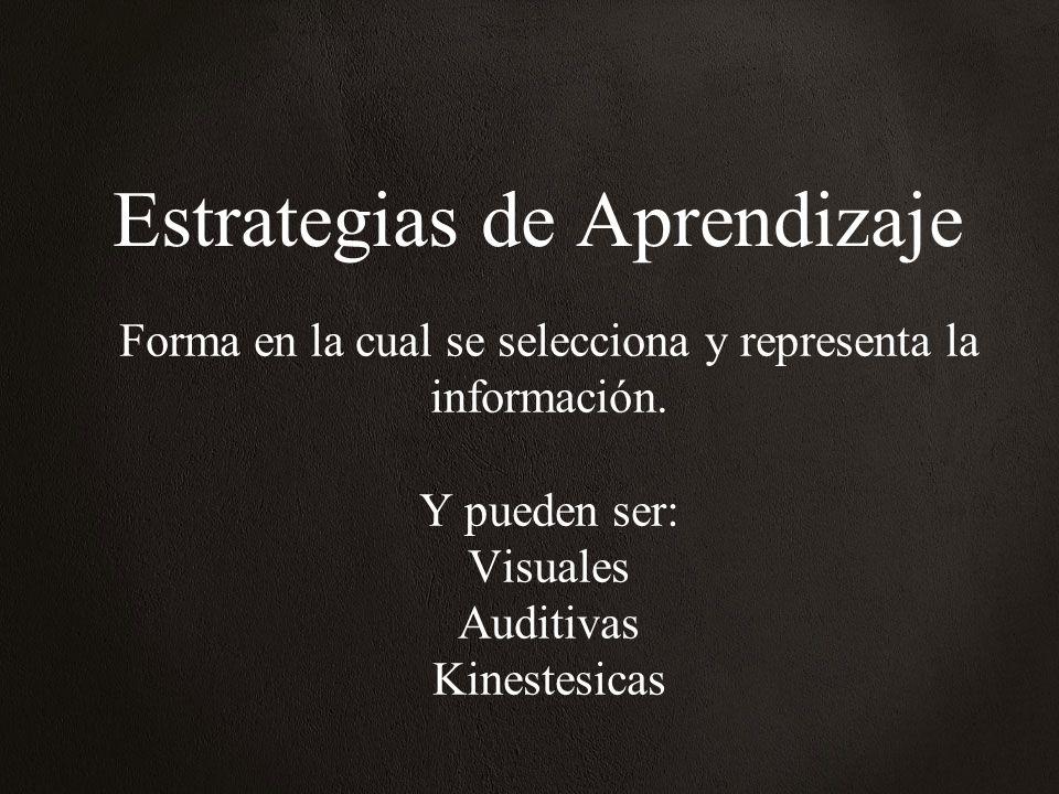Estrategias de Aprendizaje Forma en la cual se selecciona y representa la información. Y pueden ser: Visuales Auditivas Kinestesicas