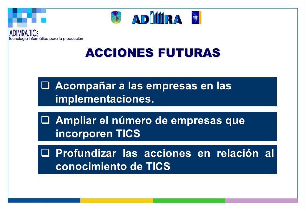 ACCIONES FUTURAS Ampliar el número de empresas que incorporen TICS Profundizar las acciones en relación al conocimiento de TICS Acompañar a las empresas en las implementaciones.