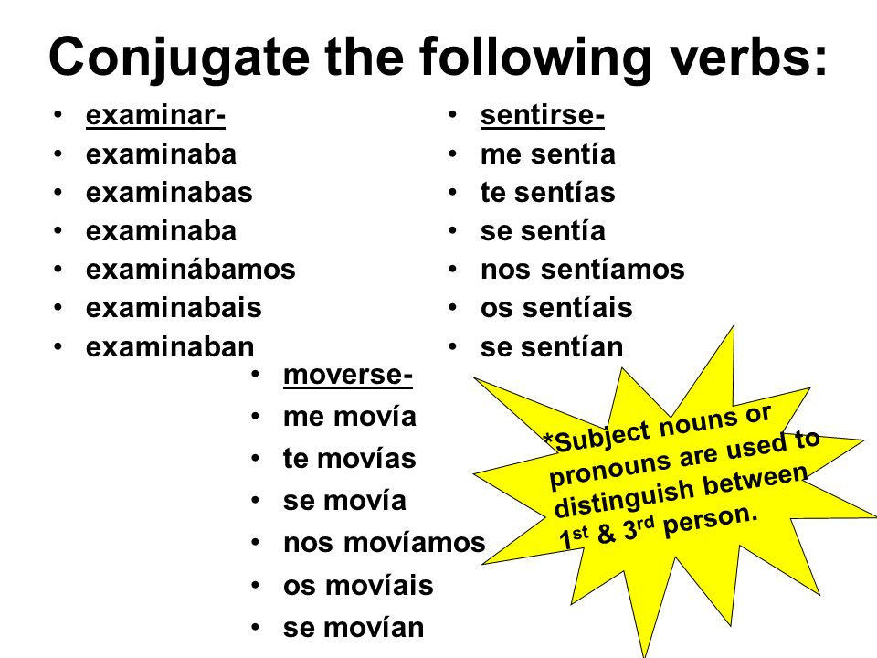 Conjugate the following verbs: examinar- examinaba examinabas examinaba examinábamos examinabais examinaban sentirse- me sentía te sentías se sentía nos sentíamos os sentíais se sentían moverse- me movía te movías se movía nos movíamos os movíais se movían * Subject nouns or pronouns are used to distinguish between 1 st & 3 rd person.