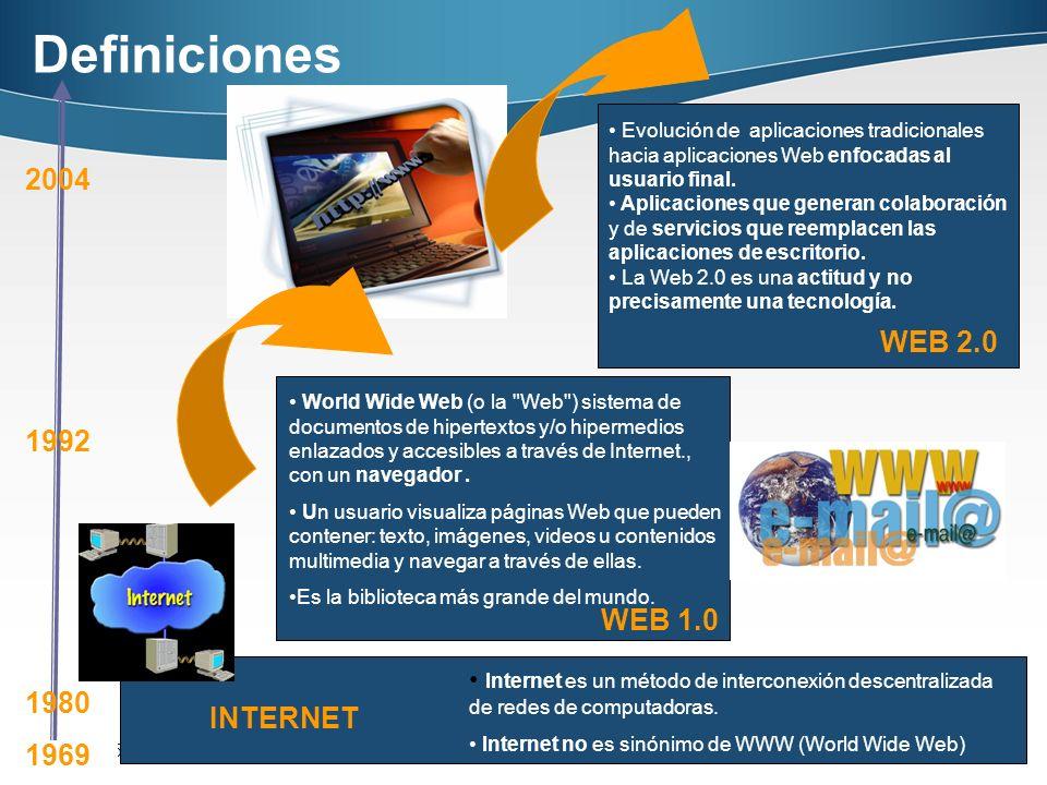Página 15 15 INTERNET WEB 2.0 WEB 1.0 Internet es un método de interconexión descentralizada de redes de computadoras. Internet no es sinónimo de WWW