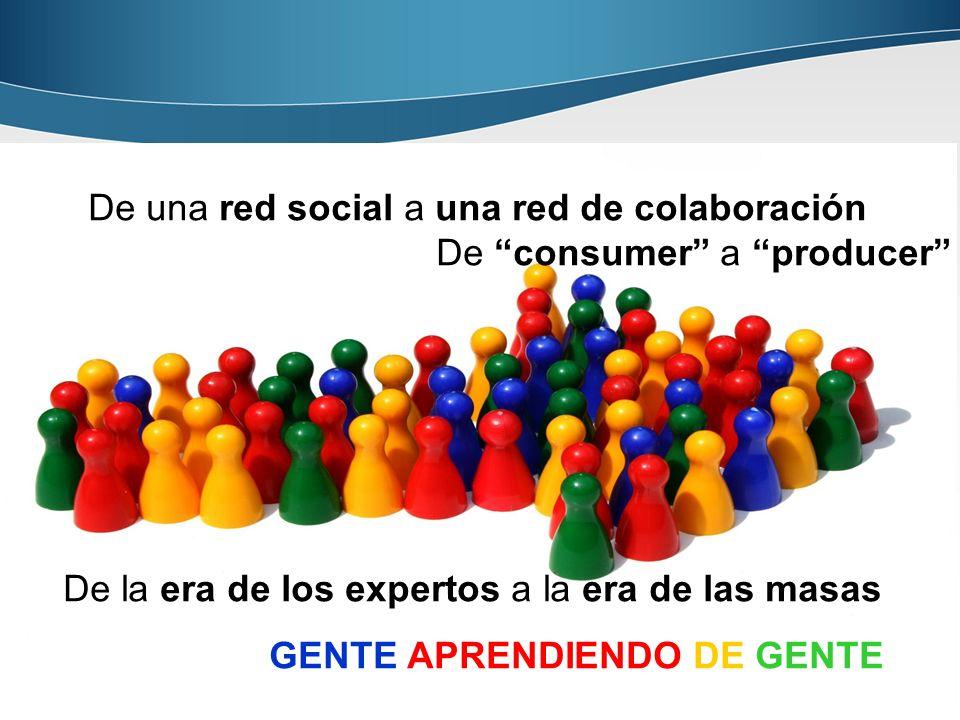 Página 20 20 De una red social a una red de colaboración De consumer a producer De la era de los expertos a la era de las masas GENTE APRENDIENDO DE G