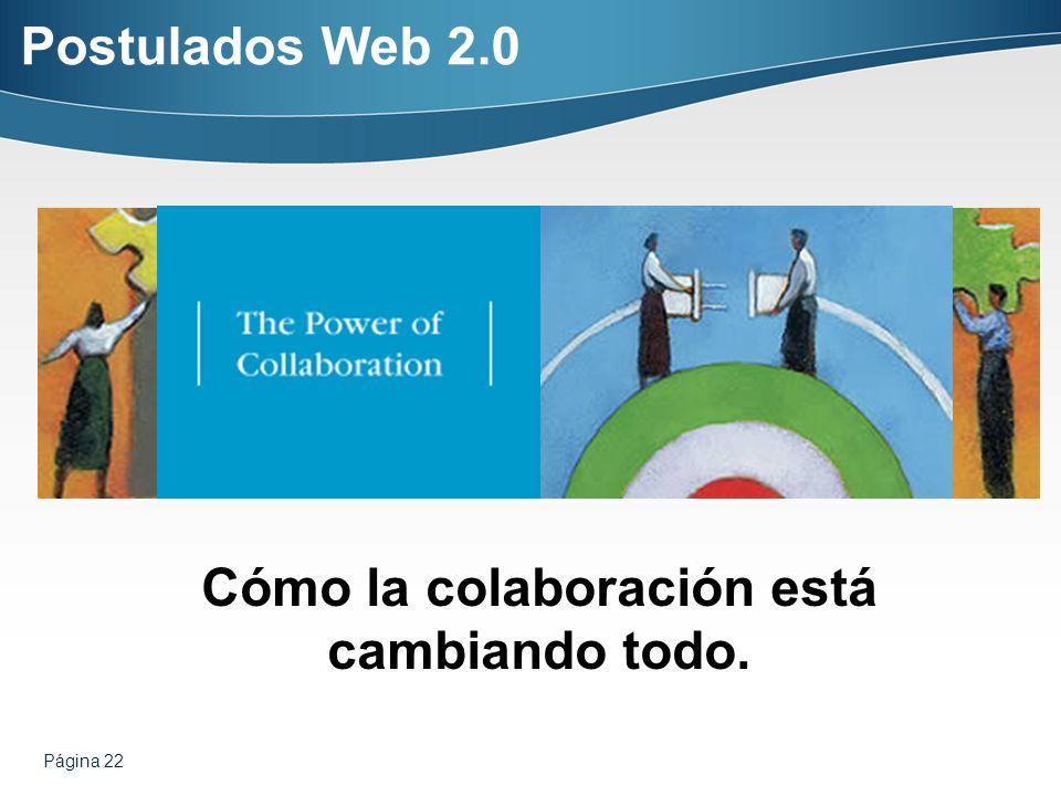 Página 22 Cómo la colaboración está cambiando todo. Postulados Web 2.0