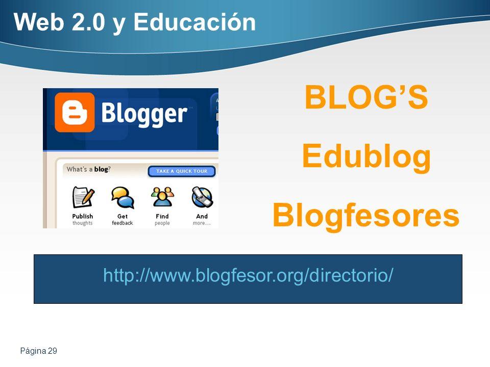 Página 29 BLOGS Edublog Blogfesores http://www.blogfesor.org/directorio/ Web 2.0 y Educación