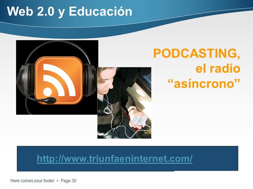 Here comes your footer Page 30 PODCASTING, el radio asíncrono http://www.triunfaeninternet.com/ Web 2.0 y Educación