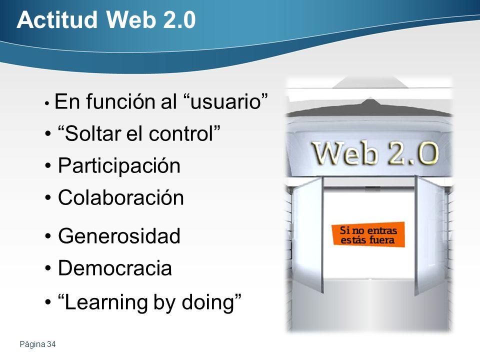 Página 34 Actitud Web 2.0 En función al usuario Soltar el control Participación Colaboración Generosidad Democracia Learning by doing