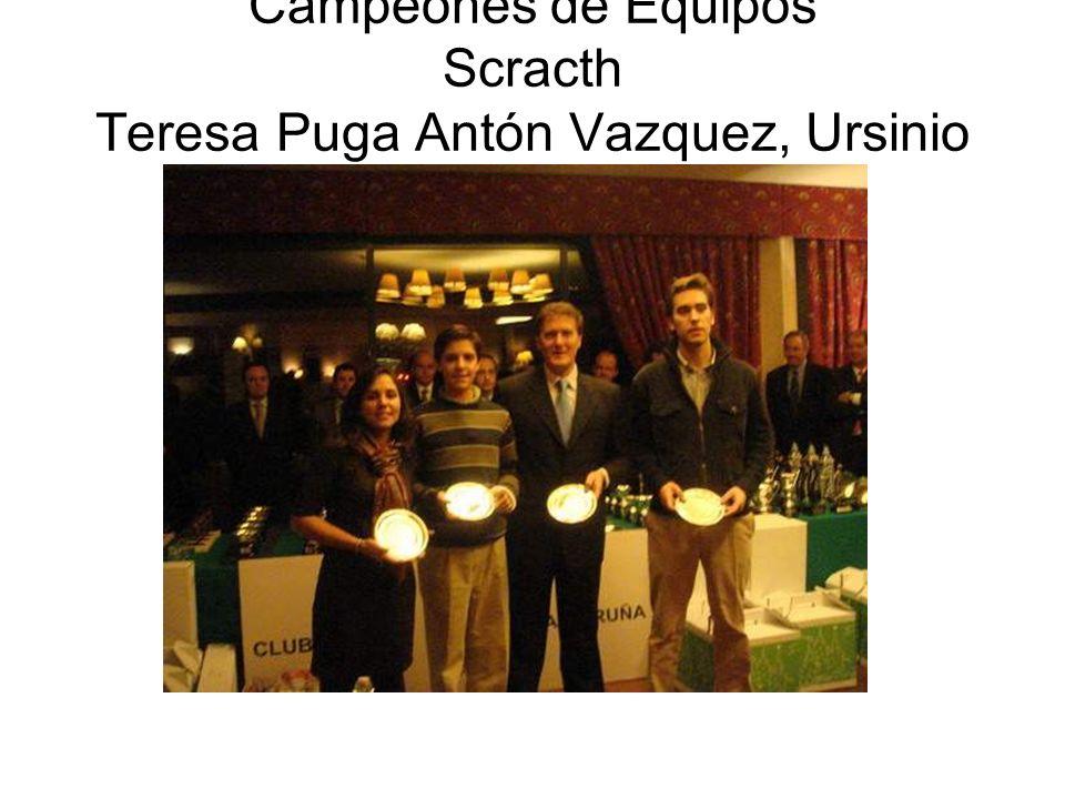 Campeones de Equipos Scracth Teresa Puga Antón Vazquez, Ursinio Puga y Joaquín Nieves