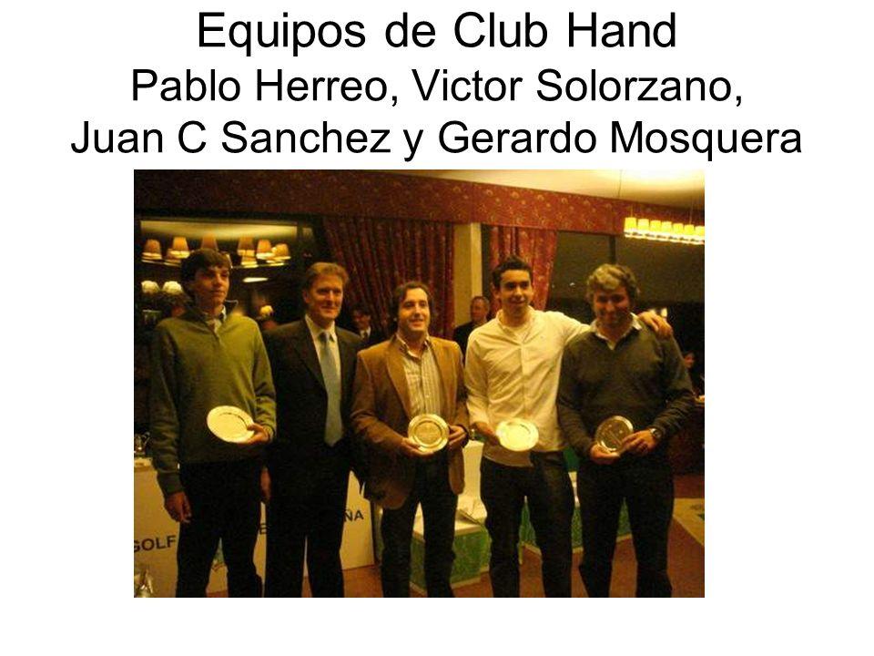 Equipos de Club Hand Pablo Herreo, Victor Solorzano, Juan C Sanchez y Gerardo Mosquera