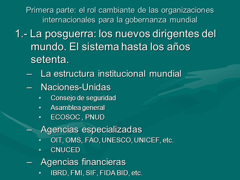Primera parte: el rol cambiante de las organizaciones internacionales para la gobernanza mundial –La OCDE (Organización de cooperación y desarrollo económico) El CAD (Comité de ayuda al desarrollo)El CAD (Comité de ayuda al desarrollo) –Organizaciones regionales CEPAL, CEA, ECAPCEPAL, CEA, ECAP –Organizaciones interesadas regionales CEE-UE, ALADI, CAN, MERCOSUR, ALENA, COMECON, ASEAN, etc.CEE-UE, ALADI, CAN, MERCOSUR, ALENA, COMECON, ASEAN, etc.