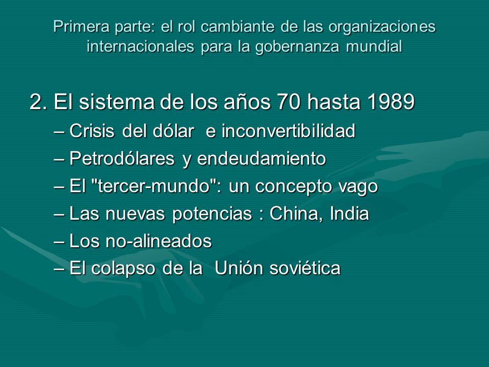 Primera parte: el rol cambiante de las organizaciones internacionales para la gobernanza mundial 2.