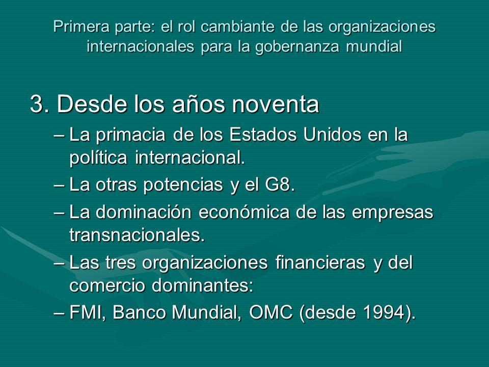 Primera parte: el rol cambiante de las organizaciones internacionales para la gobernanza mundial 3.