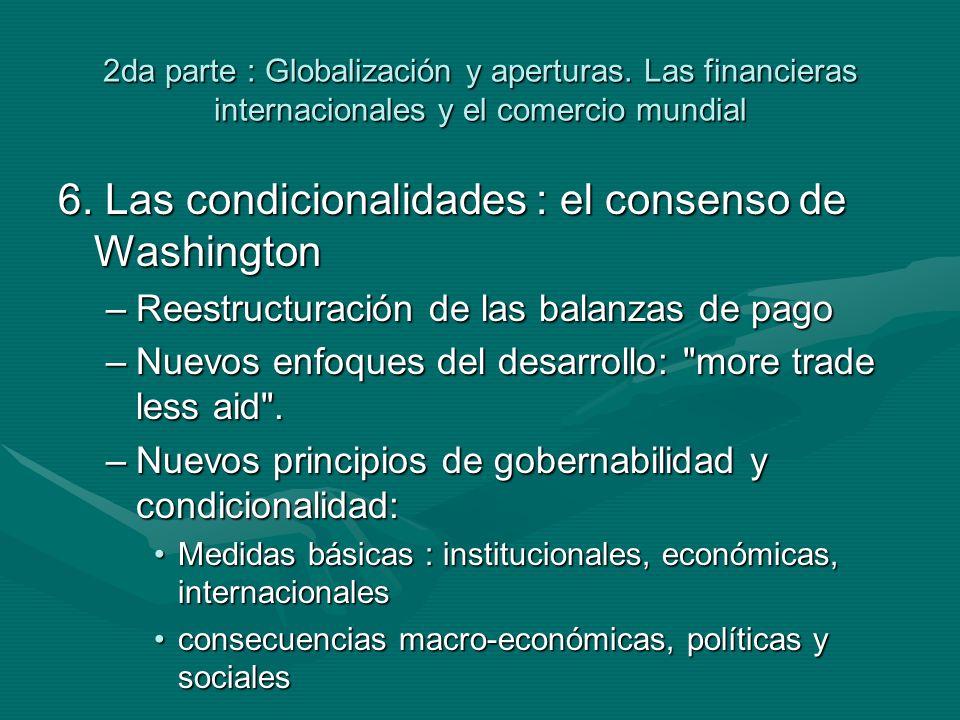 2da parte : Globalización y aperturas. Las financieras internacionales y el comercio mundial 6.