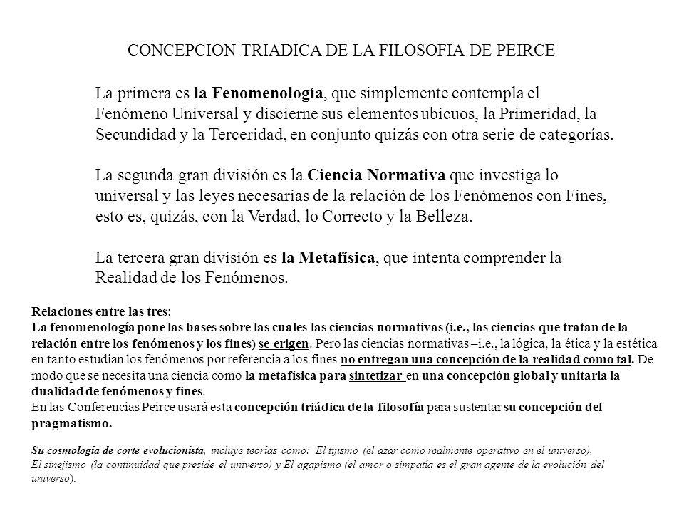 CONCEPCION TRIADICA DE LA FILOSOFIA DE PEIRCE La primera es la Fenomenología, que simplemente contempla el Fenómeno Universal y discierne sus elemento