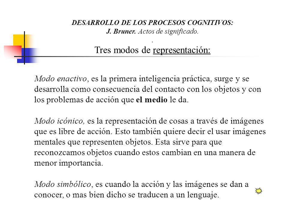 DESARROLLO DE LOS PROCESOS COGNITIVOS: J.Bruner. Actos de significado..