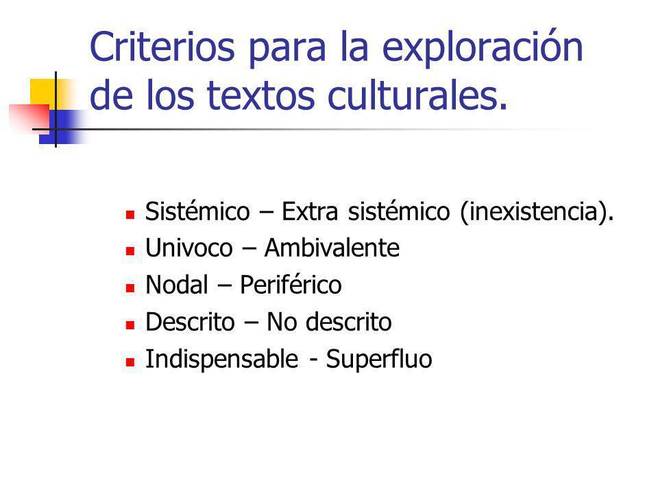 Criterios para la exploración de los textos culturales.