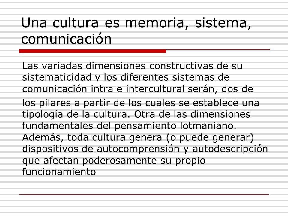 Una cultura es memoria, sistema, comunicación Las variadas dimensiones constructivas de su sistematicidad y los diferentes sistemas de comunicación in