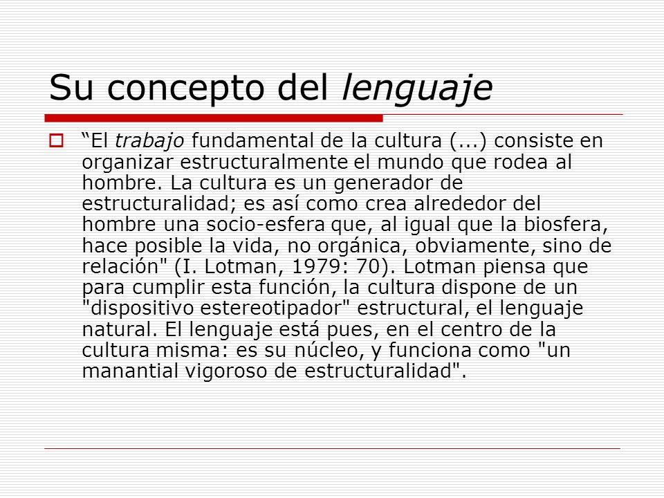 Su concepto del lenguaje El trabajo fundamental de la cultura (...) consiste en organizar estructuralmente el mundo que rodea al hombre. La cultura es