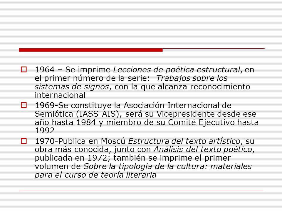 1975 - Aparece en Italia la primera antologías de textos de Lotman y de la Escuela Semiótica de Tartu- Moscú, Tipologia della cultura, editada por Boris A.