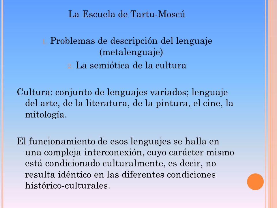 La Escuela de Tartu-Moscú 1. Problemas de descripción del lenguaje (metalenguaje) 2. La semiótica de la cultura Cultura: conjunto de lenguajes variado