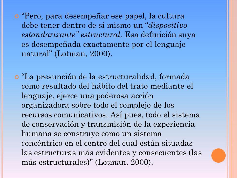 Pero, para desempeñar ese papel, la cultura debe tener dentro de sí mismo un dispositivo estandarizante estructural. Esa definición suya es desempeñad